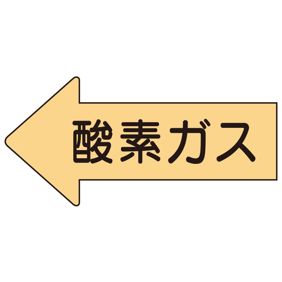 配管識別ステッカー AS−33S 左方向表示 酸素ガス・小