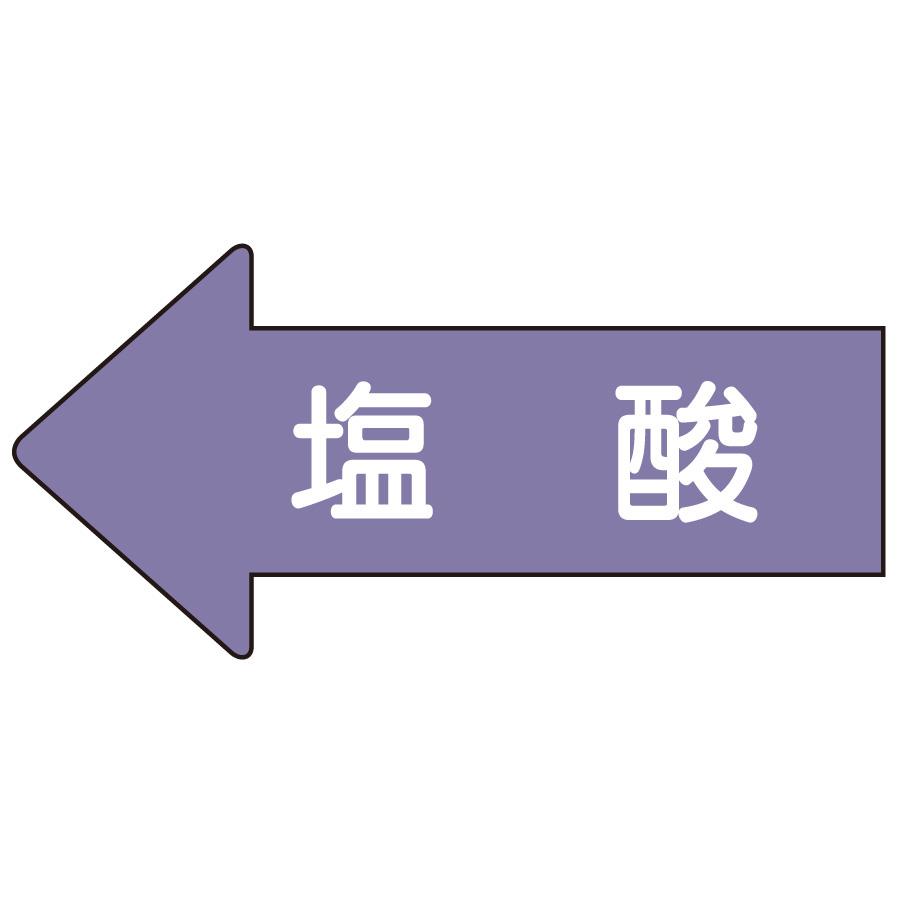 配管識別ステッカー AS−34−3S 左方向表示 塩酸 小