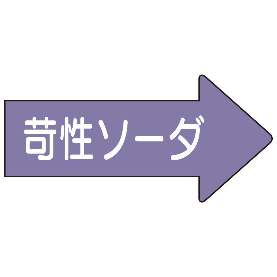 配管識別ステッカー AS−44−2S 右方向表示 苛性ソーダ・小
