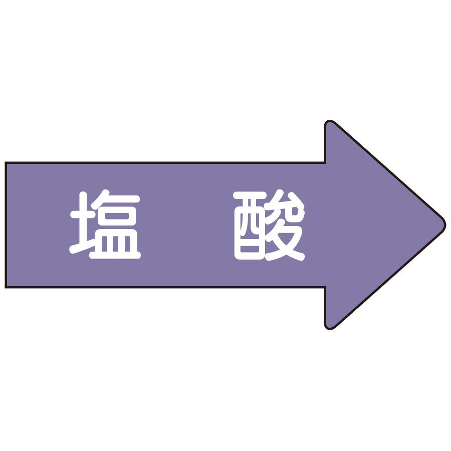配管識別ステッカー AS−44−3L 右方向表示 塩酸 大