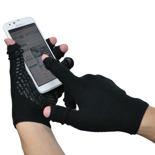 あったか スライドタッチ手袋�U Mサイズ ブラック
