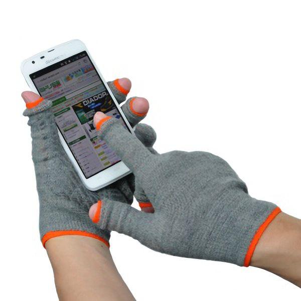 あったか スライドタッチ手袋�U Mサイズ グレー/オレンジ