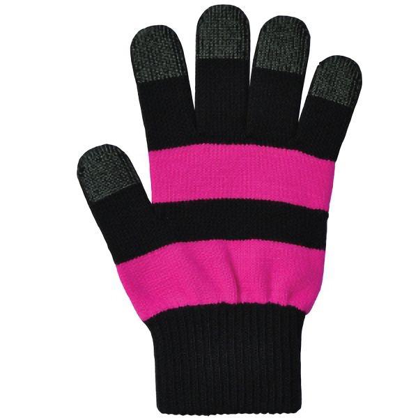 日本製 スマホ手袋 スマートタッチ 濃色ライン 5125 濃ピンク