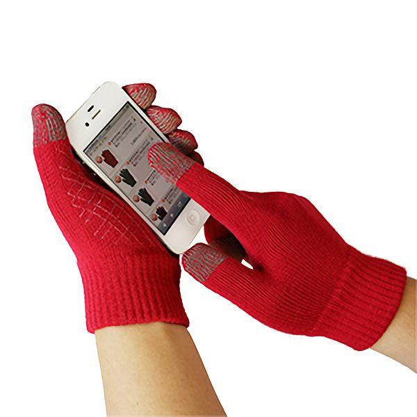 スマホ手袋 スマートタッチ すべり止め 無地 5105−S 赤