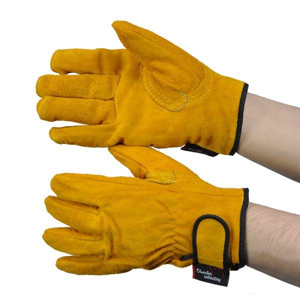 皮革手袋 カラー背縫い革手内綿付き フィット&ガード YE260T−LA