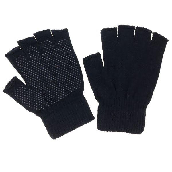 のびのび指切手袋 スベリ止め付 FT−3135 黒