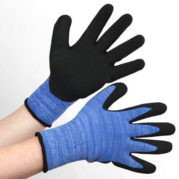 アクリル裏起毛背抜き 作業手袋 BL−311400 杢ブルー L