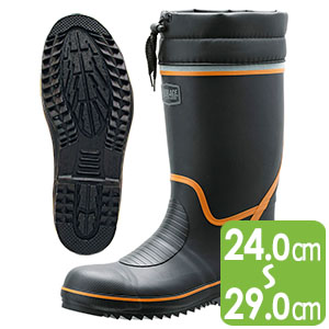 安全長靴 先芯・踏抜防止板入 766N P−4 ブラック×オレンジ