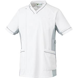 ベルデクセル 男性用スクラブ VEMG121上 ホワイト×シルバーグレー