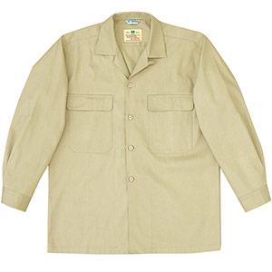 綿100% 男子長袖シャツ MS200 上 カーキ