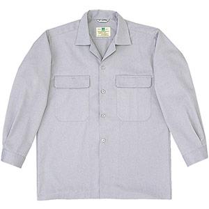 混紡 男子長袖シャツ MS512 上 シルバーグレー