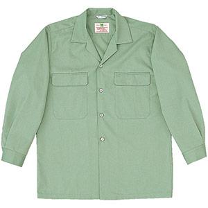 混紡 男子長袖シャツ MS518 上 アースグリーン