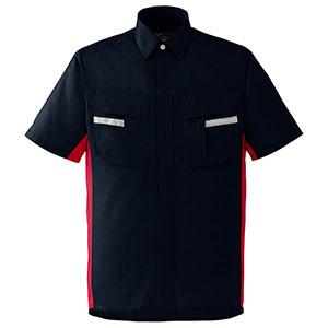 ベルデクセルフレックス 半袖シャツ VES45 上 ネイビー×レッド