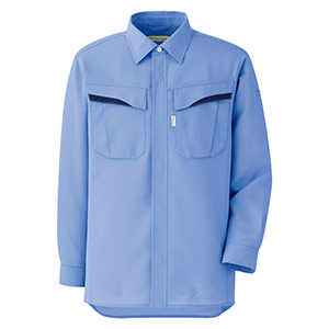 ベルデクセルフレックス プランテックス T/C ストレッチ長袖シャツ VES2493 上 ライトブルー