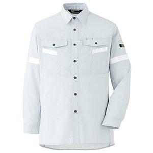 ベルデクセル フレックス 帯電防止 反射材仕様 長袖シャツ VES2551 上 シルバーグレー