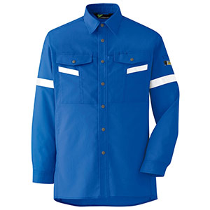 ベルデクセル フレックス 帯電防止 反射材仕様 長袖シャツ VES2553 上 ロイヤルブルー