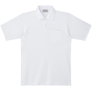 エコ帯電防止 半袖ポロシャツ PS10上 ホワイト