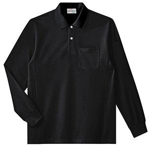 エコ帯電防止 長袖ポロシャツ PS219上 ブラック