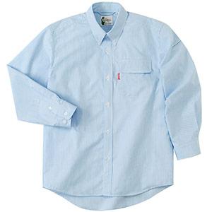 ペア長袖ストライプシャツ RCS2433 上 ブルー