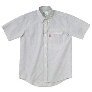 ペア半袖ストライプシャツ RCS431 上 グレー