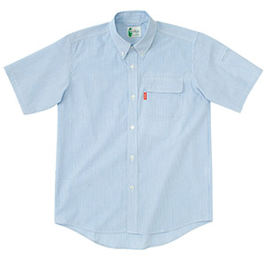 ペア半袖ストライプシャツ RCS433 上 ブルー