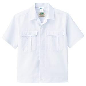 男子半袖前ボタン型ジャンパー MHS01上 ホワイト