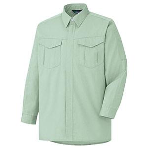 男女共用 E/C長袖シャツ GS2356上 ライトグリーン