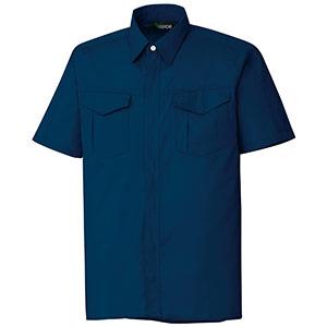 混紡 ペア半袖シャツ GS357 上 ネイビー