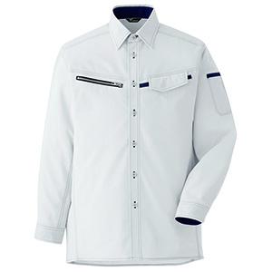 ベルデクセルフレックス 男女ペア 交織ストレッチシャツ VES2531上 シルバーグレー