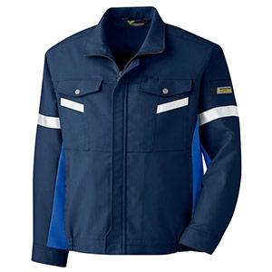 帯電防止 反射材仕様 長袖ブルゾン VES2547 上 ネイビー×ロイヤルブルー
