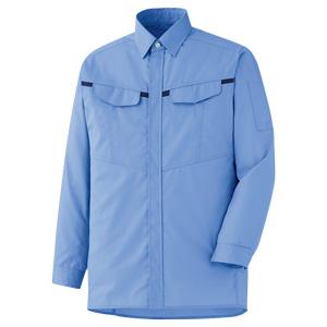ベルデクセルフレックス 男女共用 シャツ VES2673 上 ブルー×ネイビー