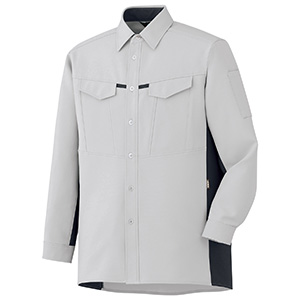 男女共用 長袖シャツ GS2701 上 シルバーグレー