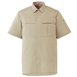エコ帯電防止 男女ペア半袖シャツ RCS590 上 ベージュ