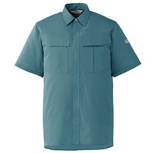 エコ帯電防止 男女ペア半袖シャツ RCS593 上 ミストブルー
