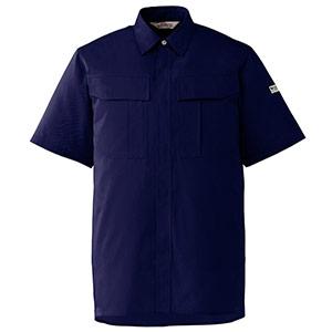 エコ帯電防止 男女ペア半袖シャツ RCS597 上 ネイビー