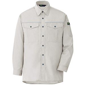 ベルデクセルフレックス エコ静電 T/C 長袖シャツ VES2451上 シルバーグレー