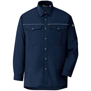 ベルデクセルフレックス エコ静電 T/C長袖シャツ VES2457上 ネイビー