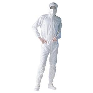 クリーンウェア フード一体型クリーンスーツ S1050W ホワイト
