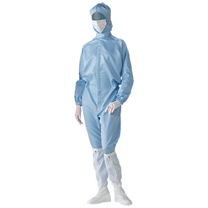 クリーンウェア フード一体型クリーンスーツ S1050B ブルー