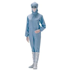 クリーンウェア フード一体静電クリーンスーツ C1550B ブルー