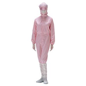 クリーンウェア フード一体静電クリーンスーツ C1550P ピンク
