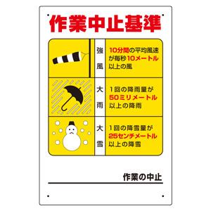 玉掛関係標識 326−12 作業中止基準