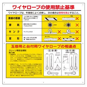 玉掛関係標識 327−10 ワイヤロープの使用禁止基準
