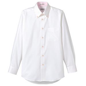 メンズ 長袖シャツ FB5010M−9 ホワイト (台衿裏:ピンク)