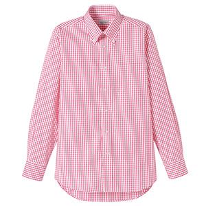 ユニセックス 長袖チェックシャツ FB4506U−3 レッド