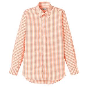 ユニセックス 長袖チェックシャツ FB4506U−13 オレンジ