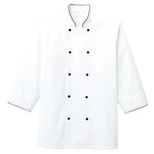 コックシャツ FB4513U−3 ホワイト×ワイン
