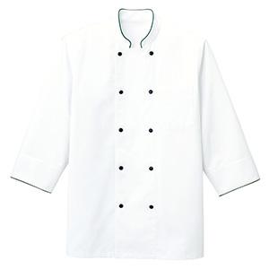 コックシャツ FB4513U−4 ホワイト×グリーン