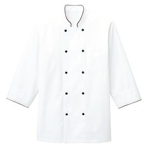 コックシャツ FB4513U−5 ホワイト×ブラウン