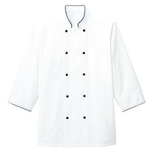 コックシャツ FB4513U−8 ホワイト×ネイビー